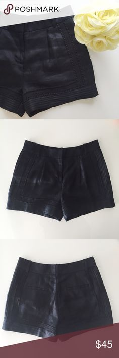 """⋆J. Crew⋆ Linen Shorts J. Crew linen shorts with lace and pleat detail. Can be dressed down with a T-shirt or dressed up with  blouse and heels. Worn once, in excellent condition.  100% linen (lining is cotton). Waist 15"""", length 13"""" measured flat. Retails for $95 + tax. Size 00.   ⋆ No trade, no lowest  ⋆ Welcome Offers, Bundles, and Questions ⋆ Instagram: Missoh_J J. Crew Shorts"""