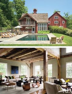Now home to a family with young children, this 19th-century barn was moved from Canada to Connecticut and converted into a 15-room house. Architect/designer S. Russell Groves was enlisted to update the interiors, including the living room, shown here, which he decorated using contemporary furnishings in neutral hues.