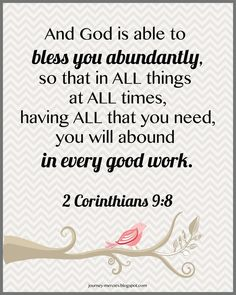 2 Corinthians 9:8 - You Will Abound In Every Good Work - free Scripture printable chevron pattern from Journey Mercies