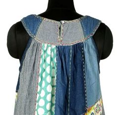 NEW $159 Rene Derhy French Italy Patchwork Cotton Tunic Dress Medium M