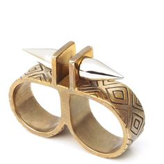 Paramount Double Finger Ring ❤ liked on Polyvore