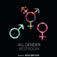 Badge featuring gender labels in different colors. Includes unisex or transgender symbol. Under it, it says all genders restroom in white type. Designed
