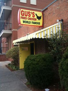 Gus's World Famous   Fried Chicken, Memphis Tennessee. We were a little nervous to go in, but the chicken WAS awesome. No wonder it's in Fromer's Guide!