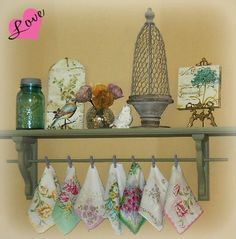 This is a great way to add bits of color—vintage hankies with flower prints are almost as pretty as the real thing! Vintage Crafts, Vintage Home Decor, Vintage Items, Vintage Shabby Chic, Vintage Love, Handkerchief Crafts, Regal Design, Vintage Display, Vintage Handkerchiefs