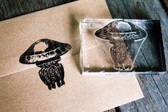 Jellyfish Stamp - Jellyfish Rubber Stamp - Seafood Rubber Stamp - Ocean Rubber Stamp