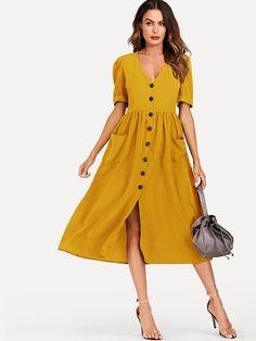 Roll Up Sleeves, Half Sleeves, Types Of Sleeves, Dresses With Sleeves, Sheath Dresses, Robe Swing, Swing Dress, Burgundy Dress, Yellow Dress