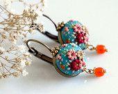 Sakura. Made to order chic and simple handmade earrings in windsor-blue