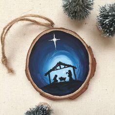 Jesus Ornament, Nativity Silhouette Wood Slice Ornament by BreadPlease on Etsy https://www.etsy.com/listing/492831019/jesus-ornament-nativity-silhouette-wood