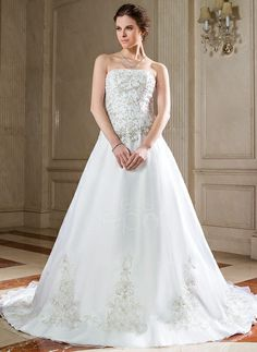 A-Line/Princess Strapless Chapel Train Organza Wedding Dress With Embroidery Beading Sequins (002000271) http://www.dressdepot.com/A-Line-Princess-Strapless-Chapel-Train-Organza-Wedding-Dress-With-Embroidery-Beading-Sequins-002000271-g271 Wedding Dress Wedding Dresses #WeddingDress #WeddingDresses