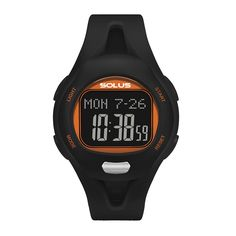 SOLUS LEISURE 880 - FINGER TOUCH HEART RATE MEASUREMENT - NON-CODED 5.3KHZ EQUIPMENT SUPPORTED - HEART RATE ZONE ALERT - CALORIE CONSUMPTION - COUNTDOWN TIMER - LAP MEMORY - DATE - ALARM AND HOURLY CHIME - ABS CASE AND PU STRAP - EL BACKLIGHT - 5 ATM