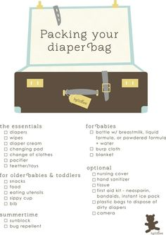 packing your diaper bag...I should print this and give it to my husband. He seems to only remember diapers and wipes lol