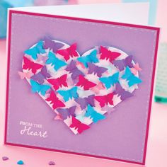 Nesting dies are a staple of any papercrafter's stash. With our bumper set of 25 you can make up this sweet butterfly heart card!