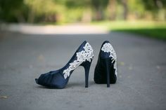 Wedding Shoes  Navy Blue Wedding Heels with Ivory by walkinonair, $89.00 -- I'm surprised at how much I like these
