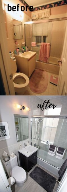 Stunning Before and After Bathroom Makeovers – Diy Bathroom Remodel İdeas Fixer Upper Bathroom, Diy Bathroom, Furniture Makeover, Small Bathroom Remodel, Shower Remodel, Bathrooms Remodel, Tile Remodel, Budget Bathroom Remodel, Small Remodel