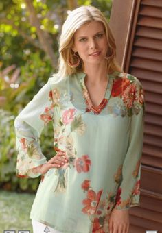 Embroidered Floral Chiffon Tunic