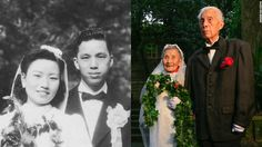 An elderly couple in China has celebrated their 70th anniversary by re-enacting their wedding day in exactly the same place.