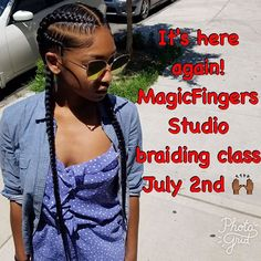 Our Braiding class will be held on Sunday July 2nd @4pm at @magicfingersstudio ! There is ONLY 7 spots remaining , so hurry and grab yours  $200 for 4 hours of different braiding techniques on live models. A deposit of $100 is required to confirm your spot!!! DM is text 2129209956 to join the braiding class❤ . . . Model @ciciashleyxo