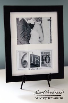 Wedding/Anniversary Date Art - Matted and Framed in Black and White Number Photos. $59.00, via Etsy.