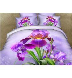 Pretty Purple Dutch Iris Print 3D Duvet Cover Sets