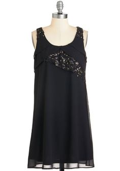 Gotta Glimmer Dress - Black, Solid, Sequins, Girls Night Out, Shift, Sleeveless, Woven, Good, Mid-length, LBD
