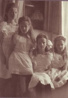 The four Romanov sisters: Olga, Anastasia, Tatiana, and Maria. This most likely a family snapshot and not a formal portrait.