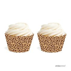 Golden Leopard Print Cupcake Wrappers For A Safari, Jungle, Leopard Party Theme