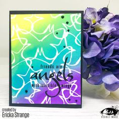 Friends are Angels - Quote Stamps - Visible Image - blended background - card - Ericka Strange Butterfly Stencil, Image Stamp, Distress Ink, Halloween Cards, Diy Cards, Stencils, Christmas Cards, Stamps, Angels