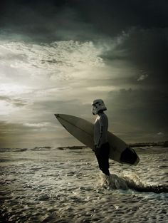 "Checking the Tide by Surfing Trooper | Star Wars | ""Do or don't… there is no try."" (sidi kaouki, morocco)"