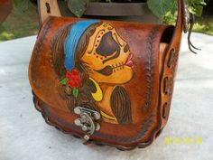 Hand Tooled Leather Day of The Dead Purse
