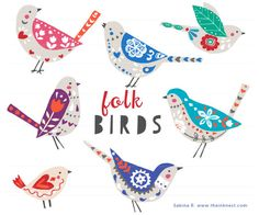 Folk Birds EPS  @creativework247