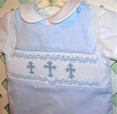 Boys Christening Jon Jon Smocked Crosses on Light by GumdropGrove, $59.00