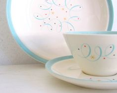 Mid Century Homer Laughlin Turquoise Scroll Luncheon Set