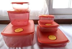 6 Piece Set Tupperware Rock N Serve Microwave Vent Containers