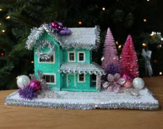 Christmas Putz House, Glitter House, Christmas Village, Large