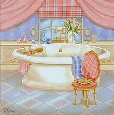 dishekus: Banyo Temalı Dekupaj Resimleri