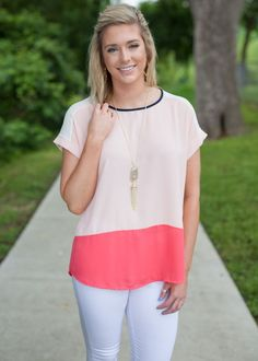 All For You Color Block Top - Peach
