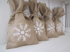 Personalized French Style Burlap Stockings, Banner, Gift Tags, 4 x 5    Snowflake Burlap Gift Bags
