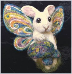 Needle Felted RABBIT FAIRY  Butterfly Winged Bunny  by QofQ, $150.00