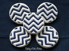 Blue & White chevron cookies