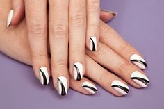 """teenvogue: """" Use pale pink and jet black polishes for a sweet and edgy manicure inspired by the Dior runway Black And White Nail Designs, White Nail Art, White Nails, Black White, Dior Nail Polish, Dior Nails, Beautiful Nail Designs, Cool Nail Designs, Easy Designs"""