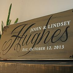 Last Name Established sign painted nutmeg in rustic wood finish