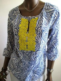 TALBOTS NWOT Yellow Beaded Summer Tunic Top - XS S 4/6 - Blue White Print socute #Talbots #Tunic #Any