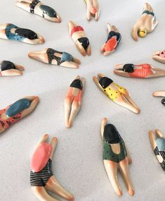 Super unique handmade ceramic summer swimming theme magnets by Artist Junty Diy Patches, Diy Clay, Ceramic Artists, Beautiful Artwork, Creative Inspiration, Different Styles, Printing On Fabric, Craft Supplies, Magnets