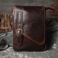 7bd7609c8454 Men Genuine Leather Hiking Fanny Waist Belt Pack Small OutDoor Messenger  Bags Lederen Ontwerp