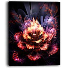 "DesignArt 'Fractal Flower' Graphic Art on Wrapped Canvas in Orange/Purple Size: 40"" H x 30"" W x 1"" D"