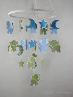 Elephant, Moon and Star Decorative Baby Mobile by whimsicalaccents on Etsy. Perfect for your nursery!