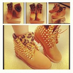 shoes timberlands leopard boots with spikes and cheetah print bag Swagg Girl, Girl Swag, Boots Leopard, Cheetah Shoes, Pink Boots, Shoe Boots, Shoes Heels, Flat Boots, High Heels
