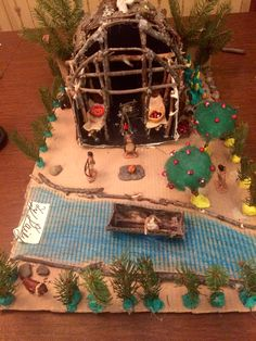 Native American Longhouse, Nativity, Gingerbread, Projects, Log Projects, Blue Prints, The Nativity, Ginger Beard, Birth