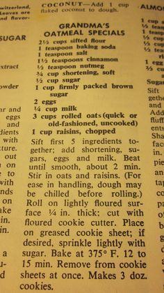 Grandma's Vintage Recipes: Grandma's Oatmeal Specials