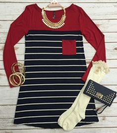 This timeless striped tunic speakssimple style and all day comfort. Botton is Navy Striped 96%rayon 4%spandex
